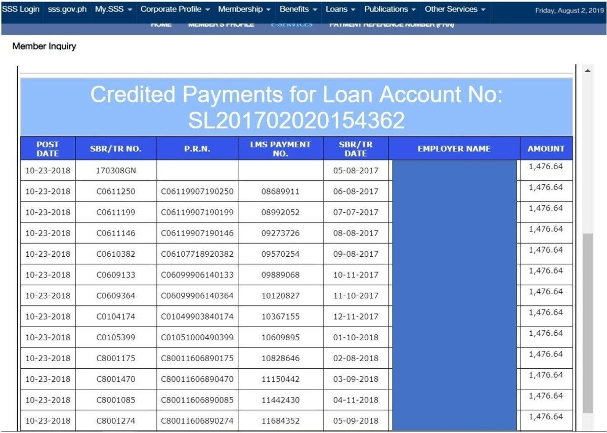 Statement of Account & Loan Payment Details