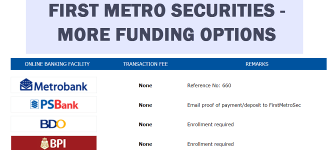 First Metro Securities Funding Options using BPI and BDO