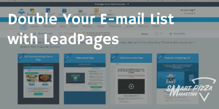 leadpages sart pizza marleting