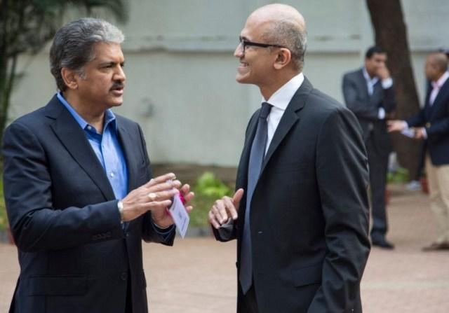 Microsoft CEO Satya Nadella with Anand Mahindra, Managing Director, Mahindra Group in Mumbai.