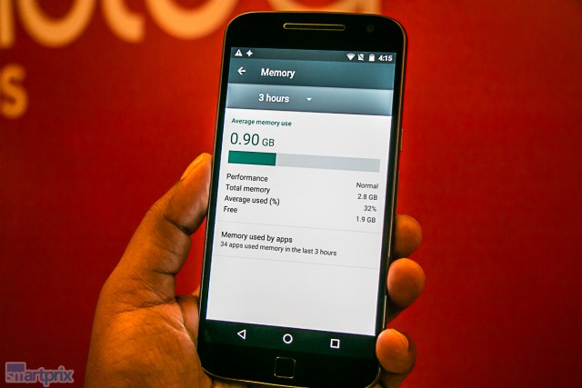 Lenovo Moto G4 Plus RAM available on first boot