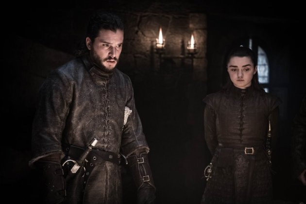 A still of Jon Snow with Arya Stark together from Season 8 Episode 2 of Game of thrones