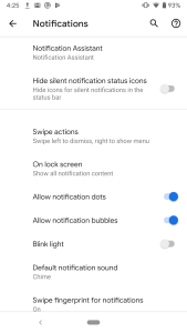 Android Q Notification Bubble and Swipe Actions