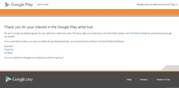 Google Play Music Artists Hub