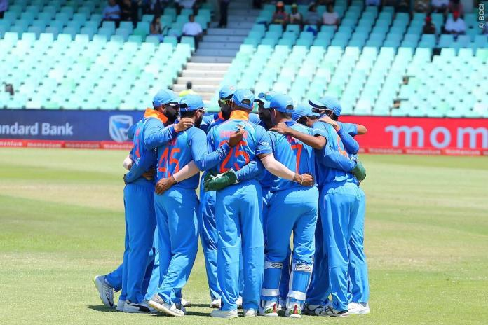 Indian cricket team in a huddle. | Image credit: BCCI/ Twitter