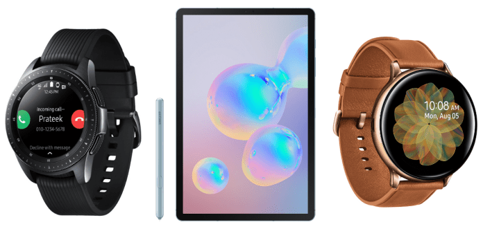 Samsung Galaxy Tab S6, Watch Active2 and Watch 4G