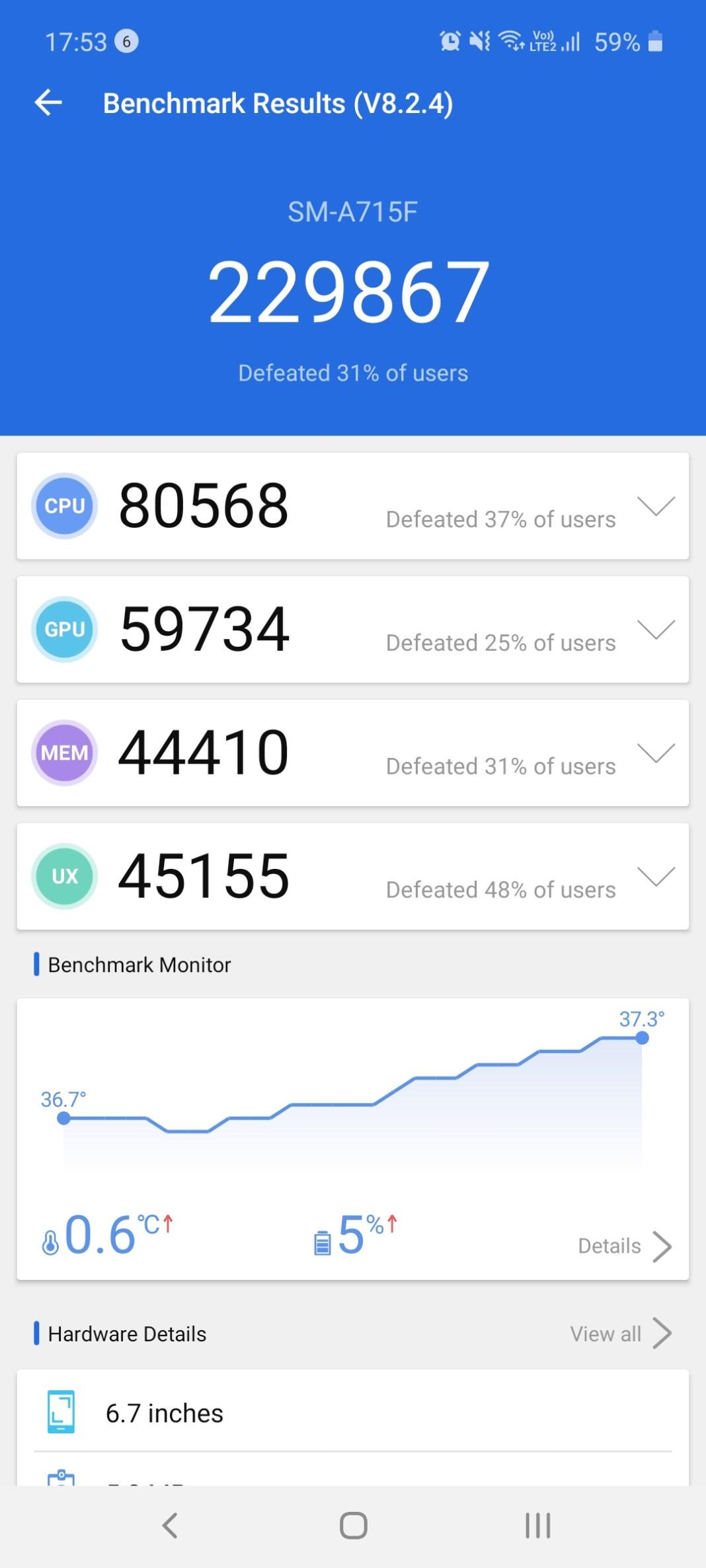 Samsung Galaxy A71 Benchmarks