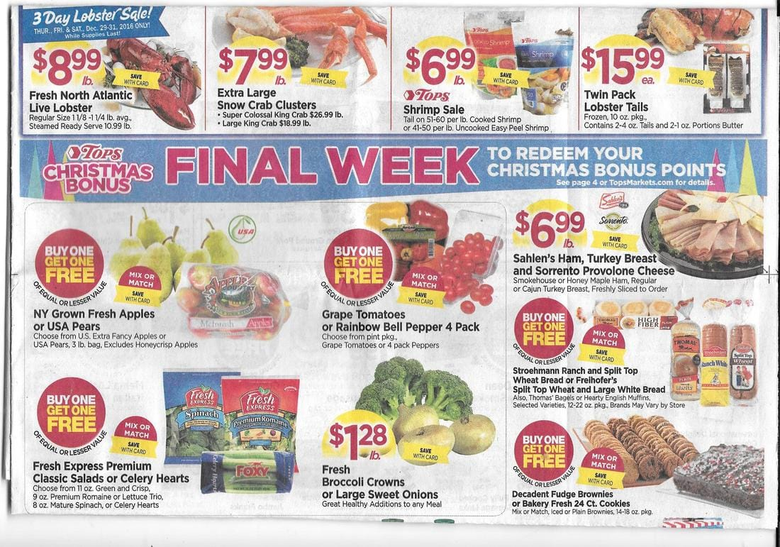 Tops Markets Ad Scan And Coupon Match Ups 12 25 12 31