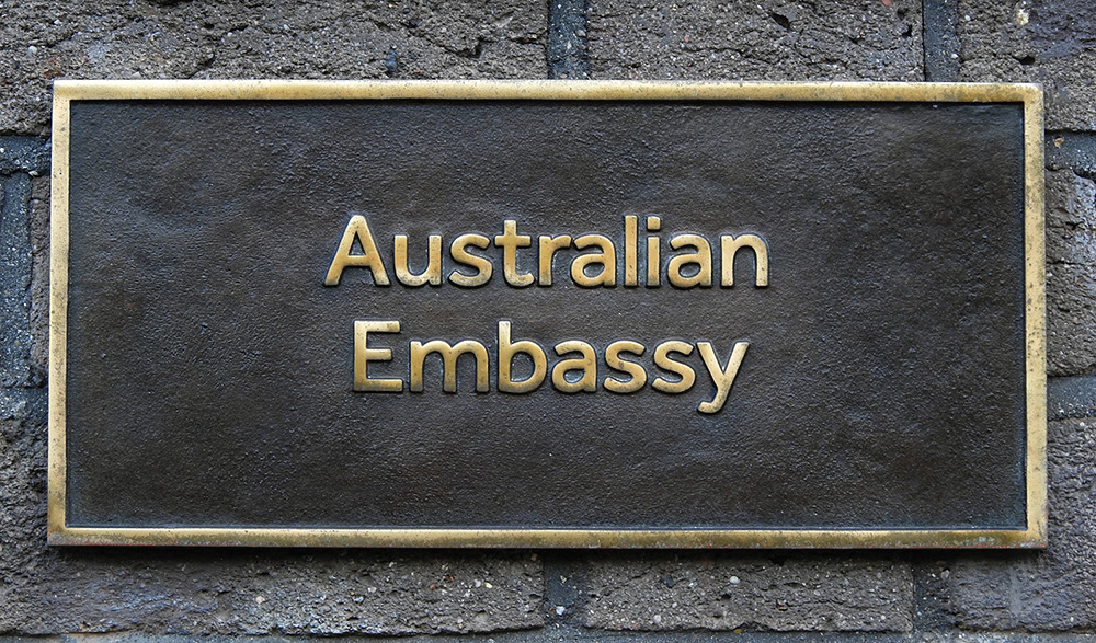 Plaque with words 'Australian Embassy'