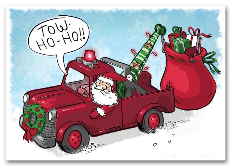 Automotive Holiday Card Towing Ref HML1512