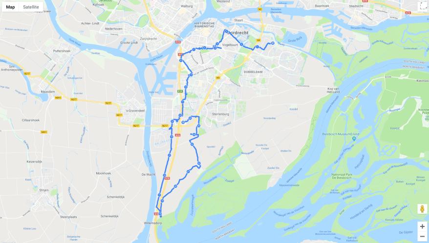 De kaart met daarop onze route van 36,5 kilometer.