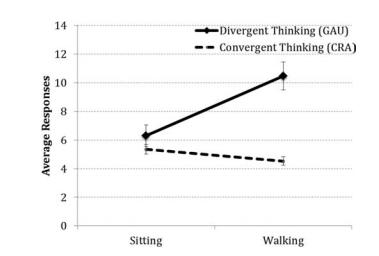 En varios estudios el movimiento aumente la capacidad de pensamiento divergente.
