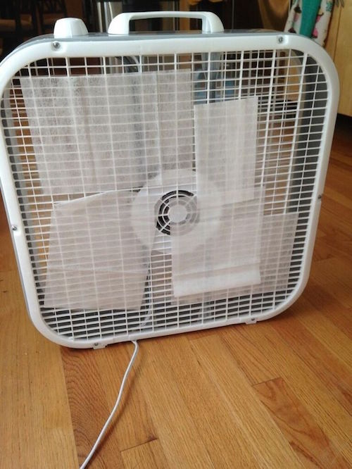 Create an instant air freshener by placing dryer sheets on the back of a fan. Do you think this works? Seems possible! (Source unknown)