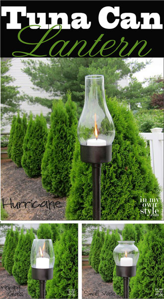 Make pretty outdoor lighting with tin cans, spray paint, and a small hurricane. This is really neat!