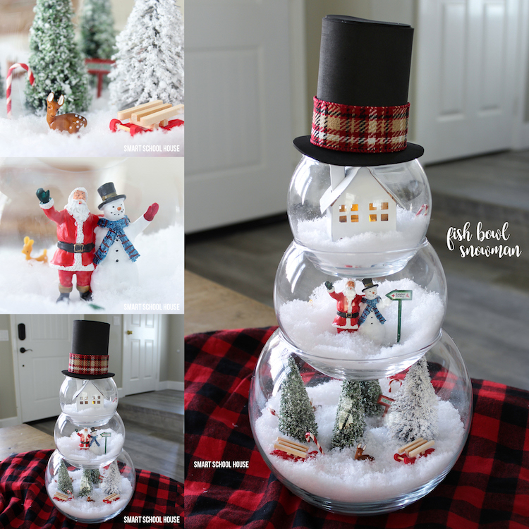 Fish Bowl Snowman Craft for a Christmas decoration. ADORABLE! Make a little Christmas scene in each bowl.