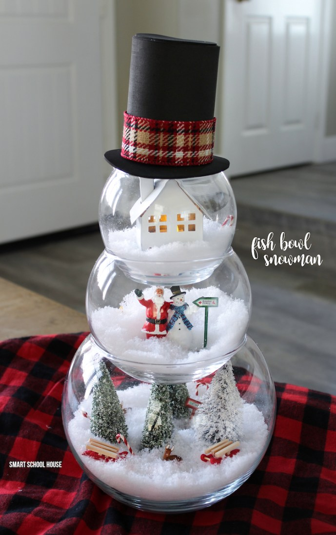 Fishbowl snowman diy dollar store craft idea for the holidays