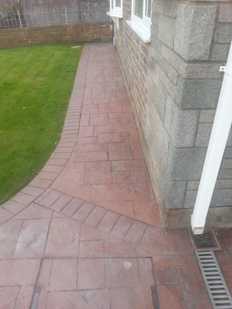Pattern Concrete Path,Before resealing and refurbishment.