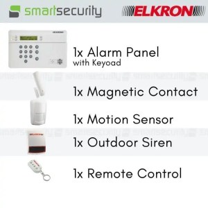 Elkron Wireless Intrusion Alarm Kit-  Loud Siren with GSM Dialler- for home and business