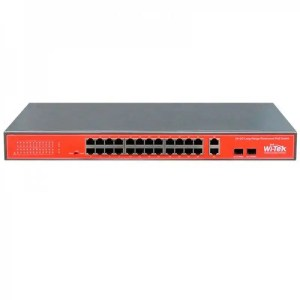 WI-PS526G 24FE+2Combo Ports 48V VoIP PoE Switch, 24-Port PoE