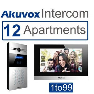 This is a picture of Akuvox 12 apartments Video intercom SIP with mobile App provided by Smart Security in Lebanon
