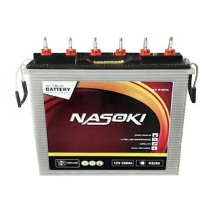 This is a picture of the Nasoki Tubular battery 12V-200AH Deep Cycle provided by Smart Security in Lebanon