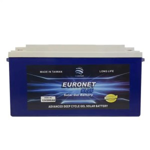 This is a picture of the EURONET BLUE GEL BATTERY 12V 200AH FAT sold in Lebanon by Smart Security