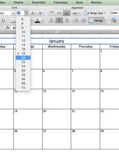Fonts calendar in excelg also make  excel includes free template rh smartsheet