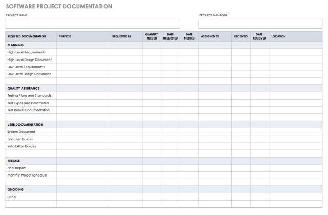 25+ Free Project Documentation Templates  Smartsheet
