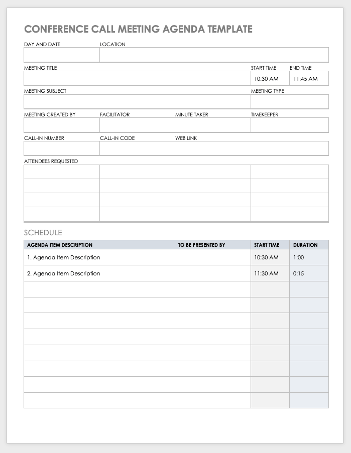 Input your work email address in the space provided and click download. 10 Free Meeting Agenda Templates For Microsoft Word Smartsheet