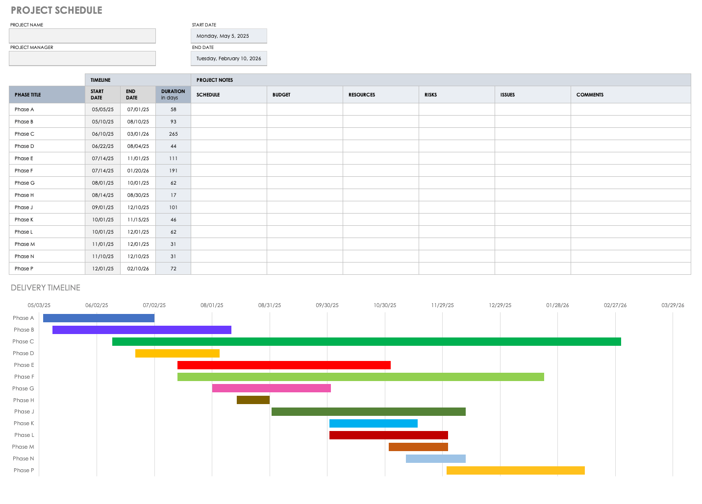 It helps in creating a plan for a whole project with regards to the timeline or schedule would involve. Free Project Schedule Templates Smartsheet