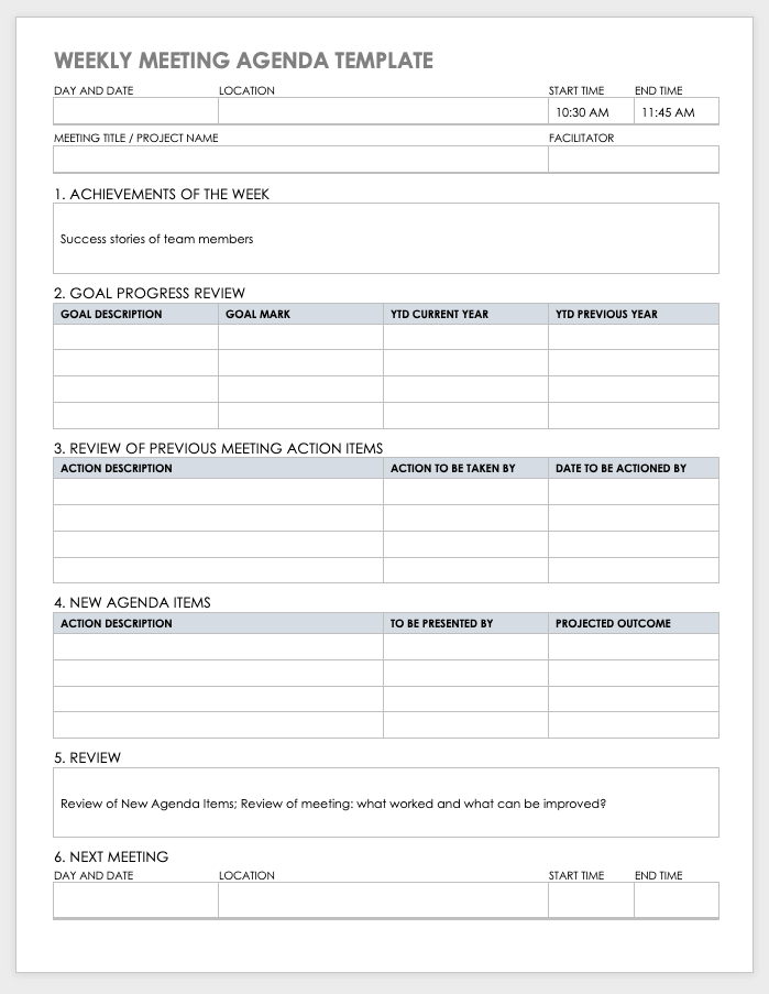 Explore the wide variety of free agenda templates, including the classic meeting agenda template in word and the flexible agenda in excel. 10 Free Meeting Agenda Templates For Microsoft Word Smartsheet