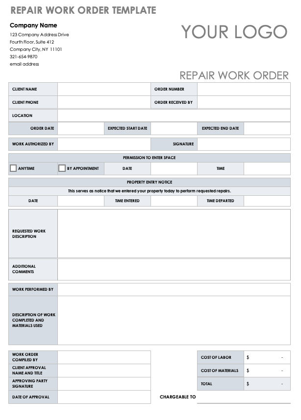 Sometimes it's tempting to take shortcuts, but fight the urge when creating a new word template. 15 Free Work Order Templates Smartsheet