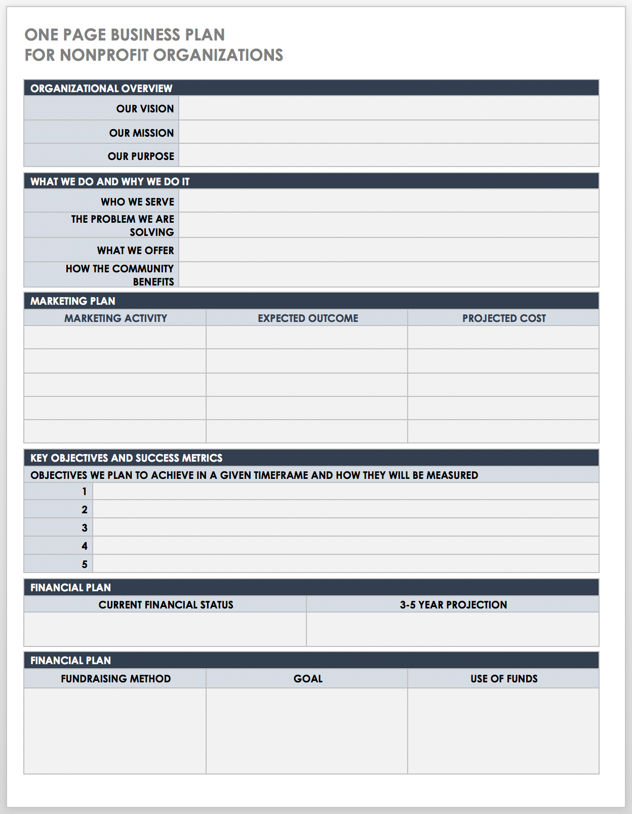 Free One Page Business Plan Templates