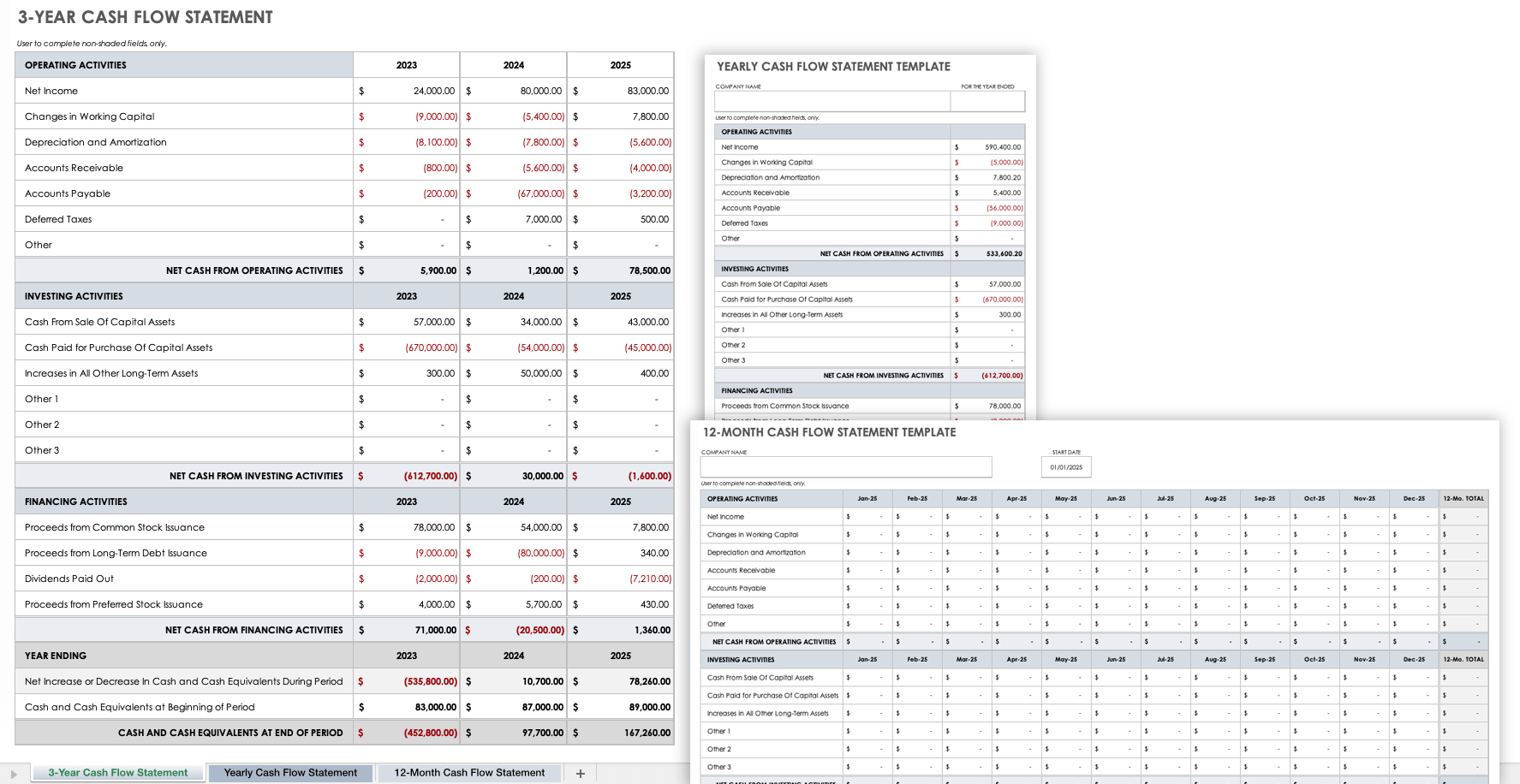 Monthly cash flow statement template; Free Cash Flow Statement Templates Smartsheet