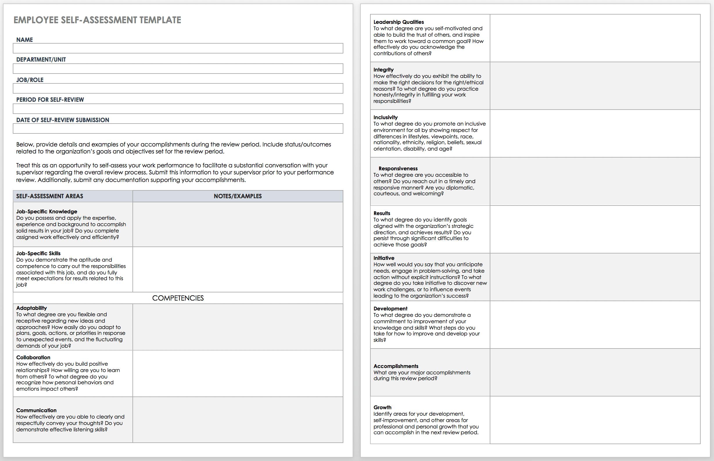 Free Self Evaluation Templates