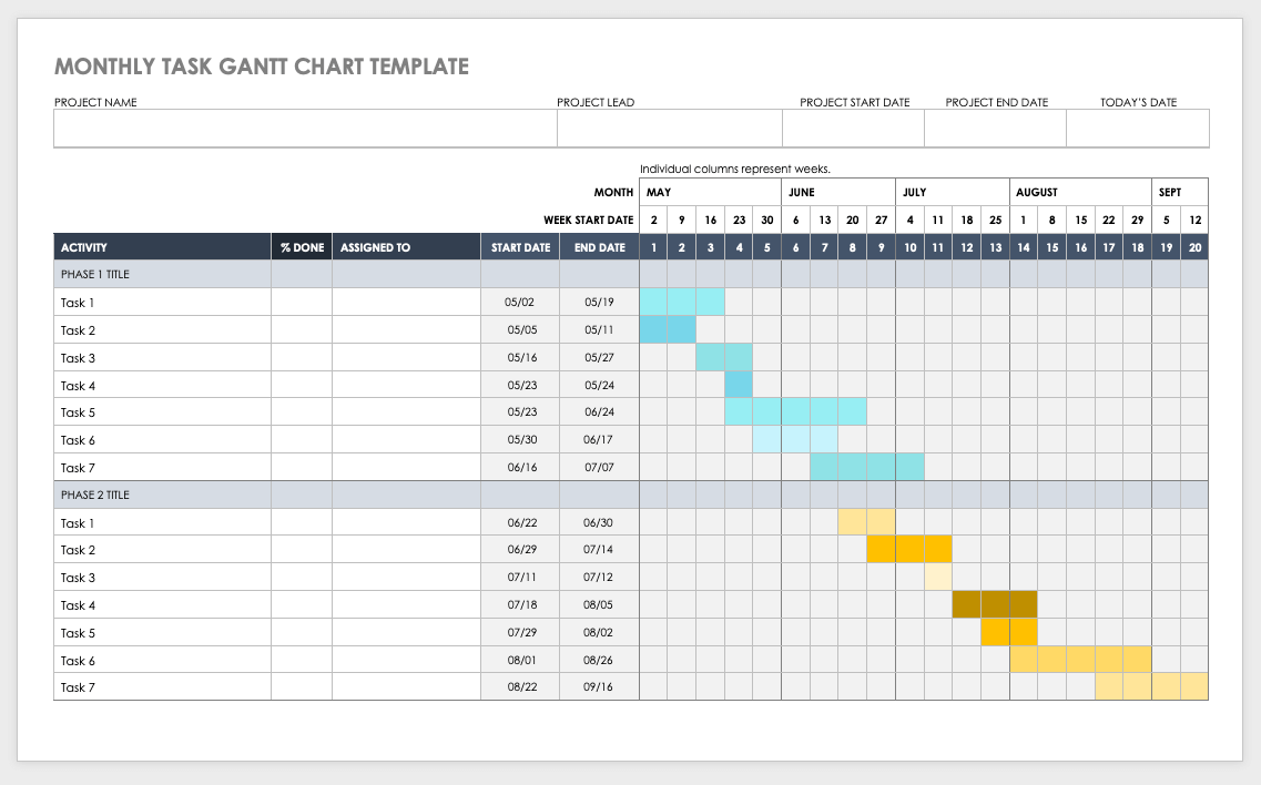 The difference between a pert and gantt chart comes down to the structure, depiction of task dependencies, schedule management features and use of nesting diagrams. Free Gantt Chart Templates In Ms Word Smartshee