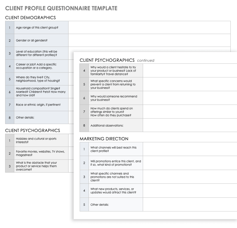 17/05/2019· creating an ideal customer profile template is the first step to pretty much any website redesign or marketing campaign. Free Client Profile Templates Smartsheet