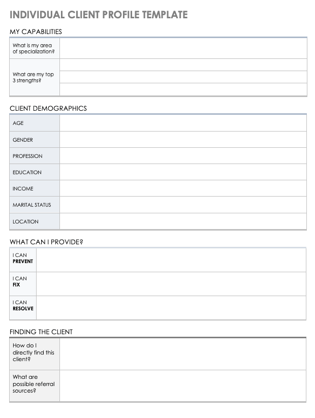 26/02/2019· ideal customer profile template. Free Client Profile Templates Smartsheet