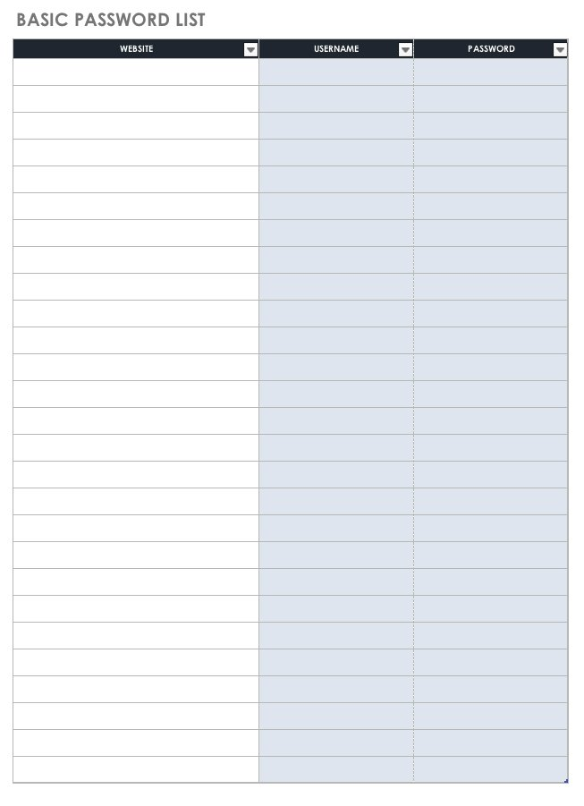 If you believe writing things down on paper is a more. Free Password Templates And Spreadsheets Smartsheet