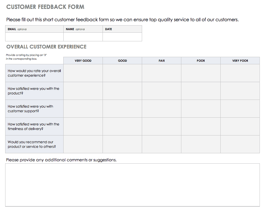 A customer feedback questionnaire or survey is one of the better ways to do. Free Feedback Form Templates Smartsheet