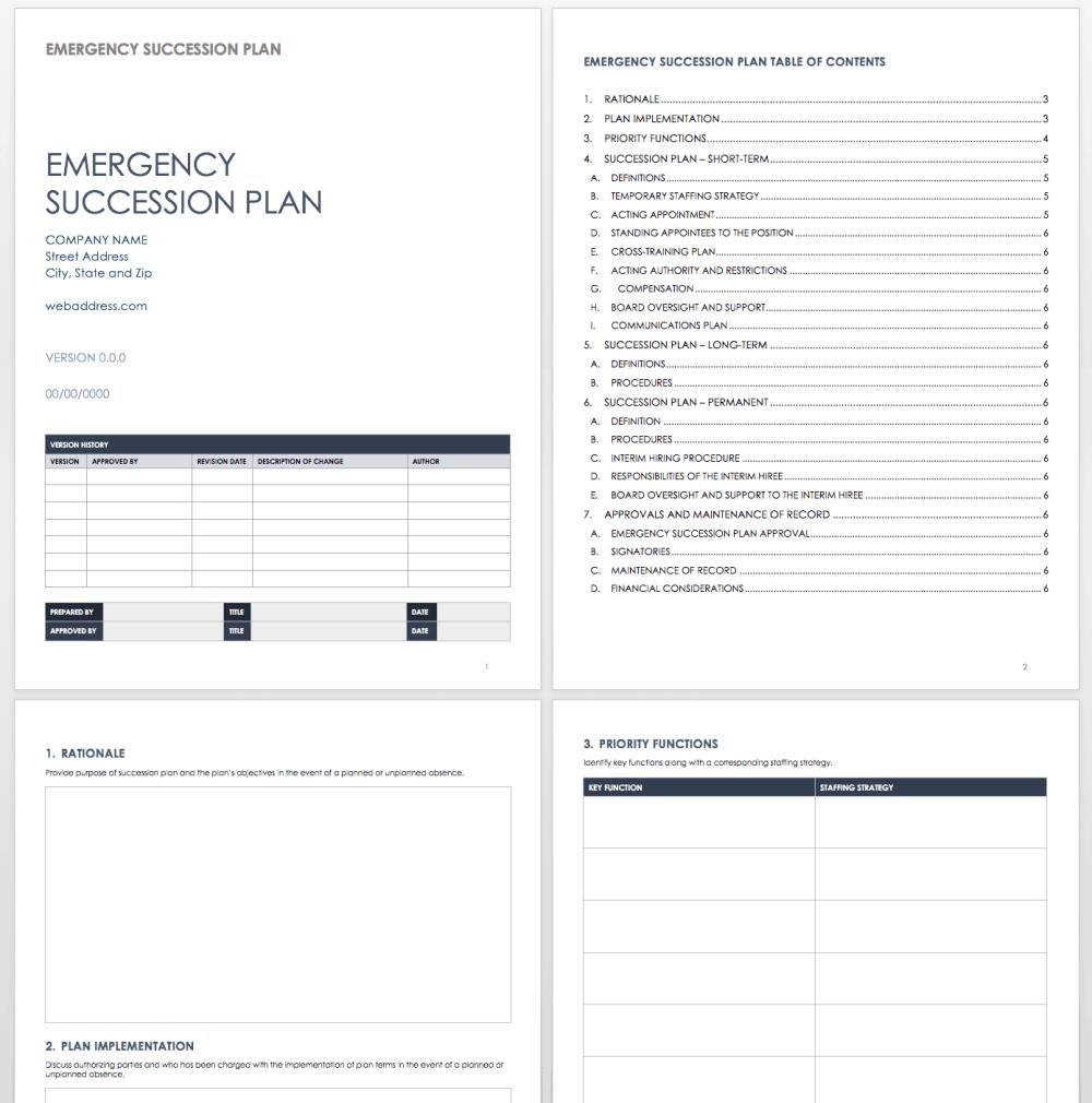 medium resolution of emergency succession plan template