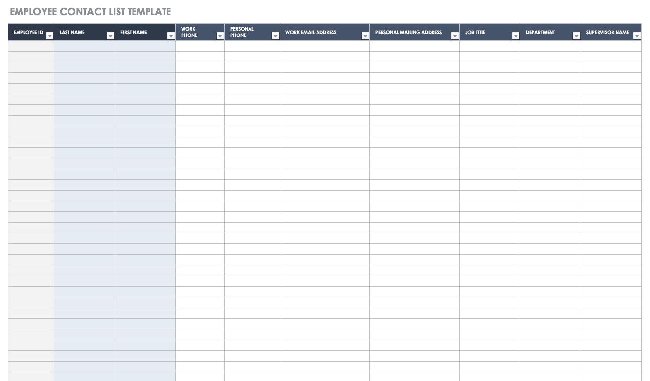 Excel | word | pdf. Free Contact List Templates Smartsheet