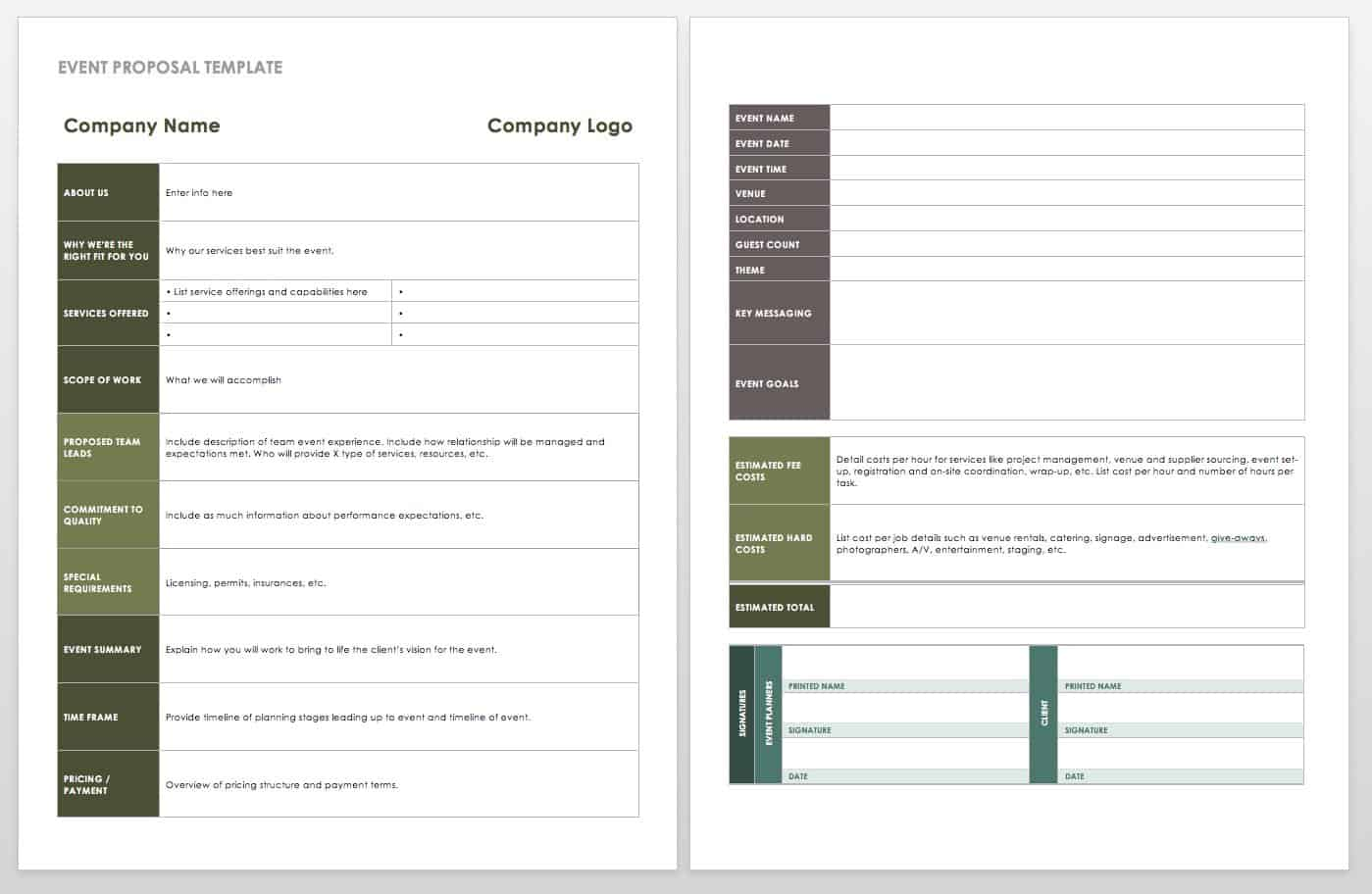 21 Free Event Planning Templates