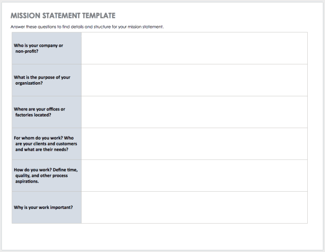Mission and Vision Statement Templates  Smartsheet