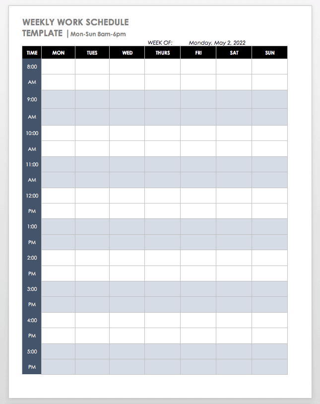 An employee schedule template is a calendar that facilitates employee scheduling in a place of work. Free Work Schedule Templates For Word And Excel Smartsheet