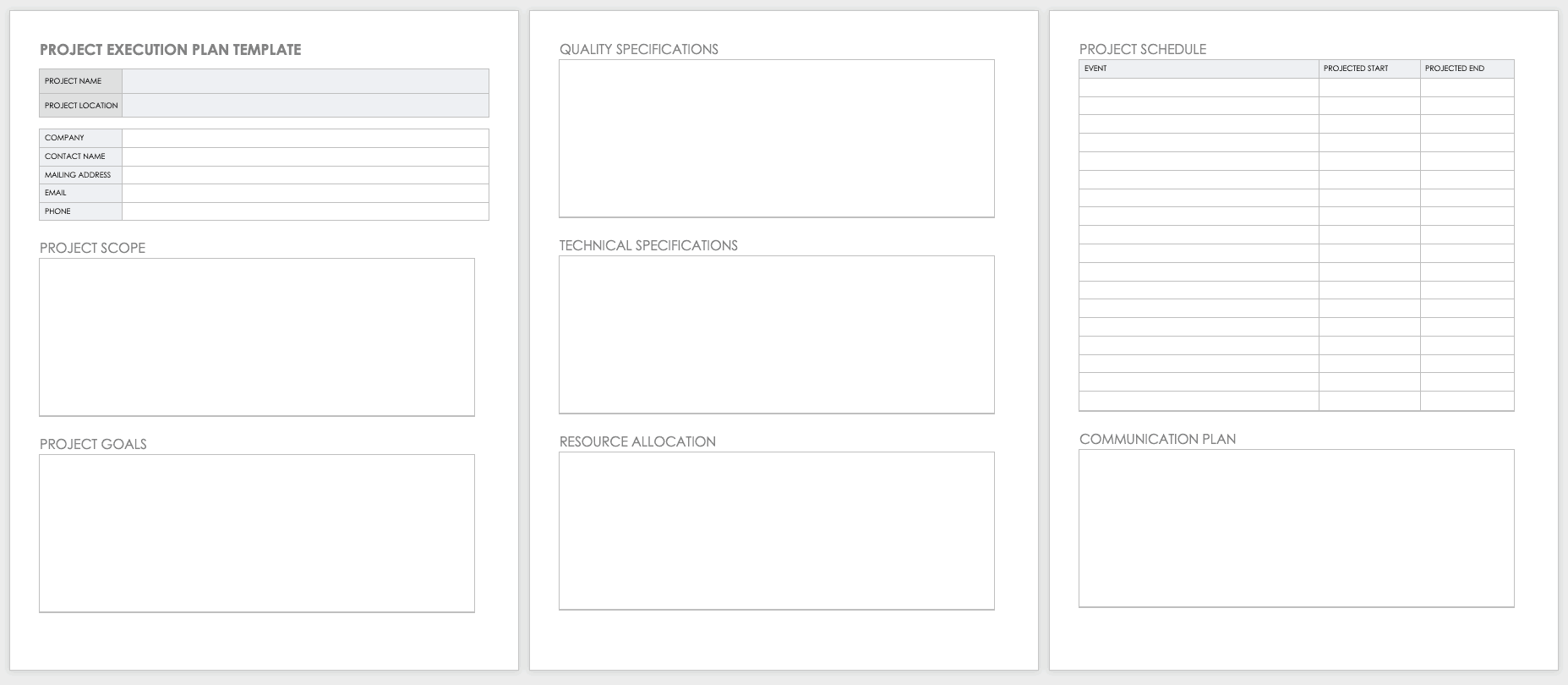 Project Plan Template Free Collection