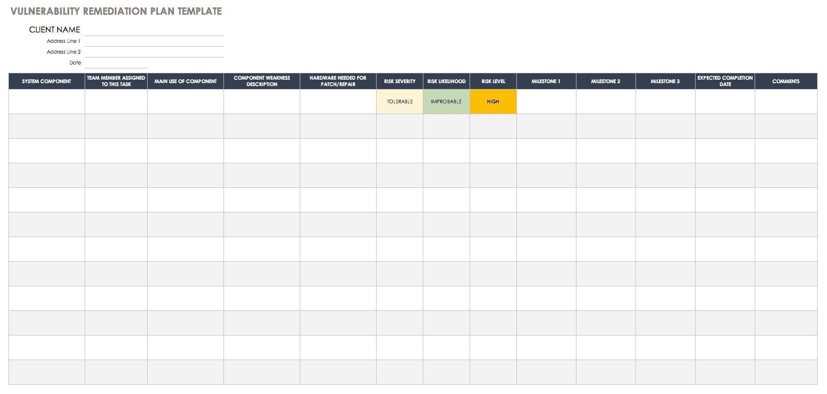 Security self assessment questionnaire template; Free Vulnerability Assessment Templates Smartsheet