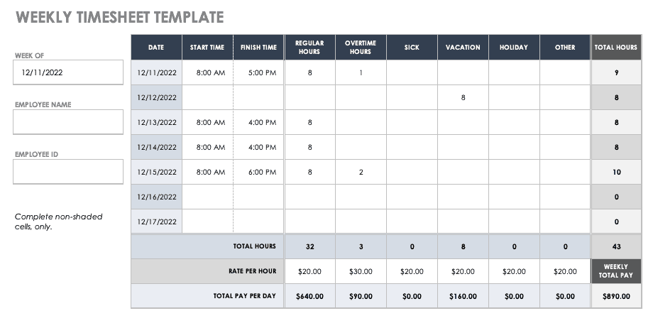 This accessible employee time card helps you track your paycheck. 17 Free Timesheet And Time Card Templates Smartsheet