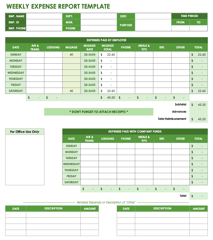 29/05/2017· an expense report can be a monthly report, a quarterly report, or even a yearly report. Free Expense Report Templates Smartsheet