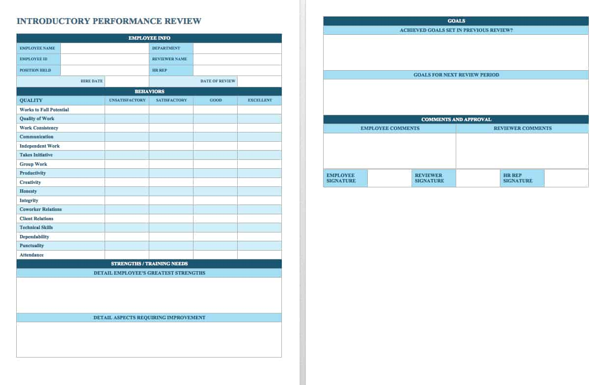 Free Employee Performance Review Templates